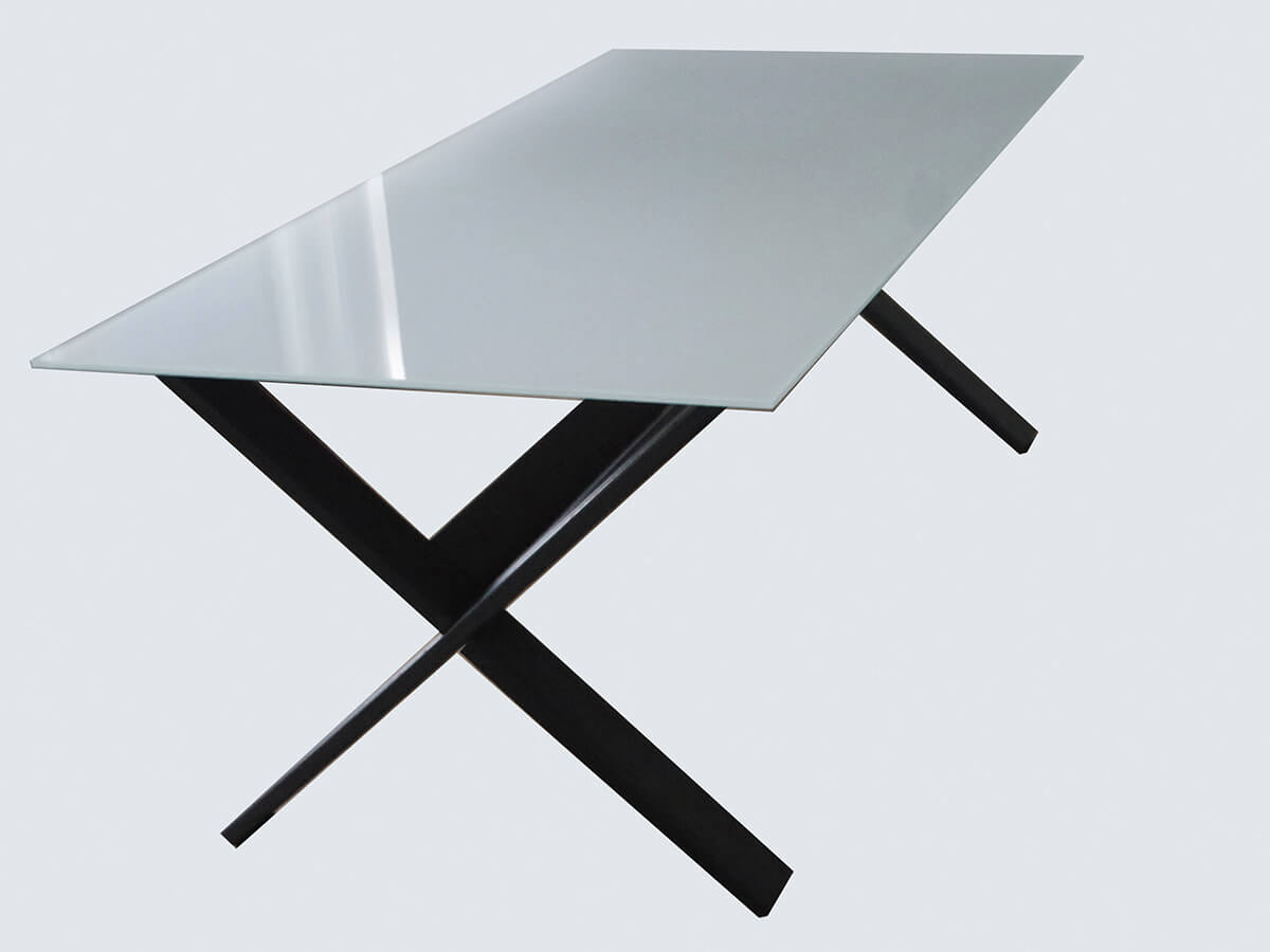 Dining table with a modern material solution, a development of the previous one