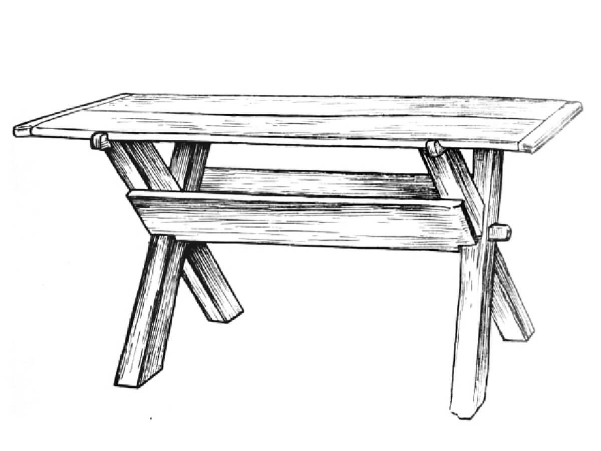 Dining table with an old triangular shelf from Saaremaa, Jämaja, Türju village, Proosa farm