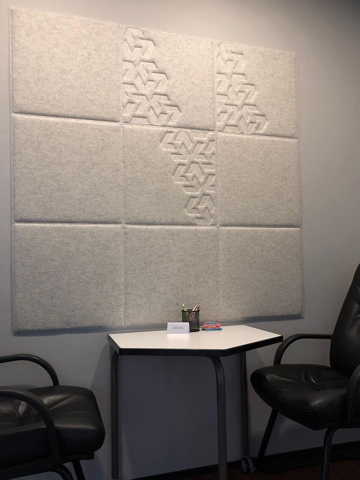 Katin Kabun Pilootprojektina valminud akustilised seinapaneelid OÜ Veriff kõne- ja koosolekuruumides